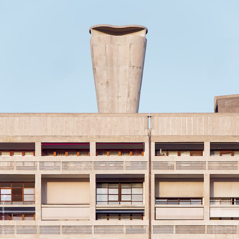 Concrete chimney in the Cité Radieuse of Marseille by Architect Le Corbusier