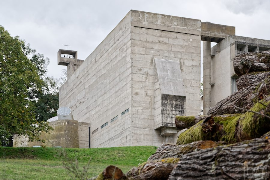 Church of the convent of La Tourette by Le Corbusier in the woods