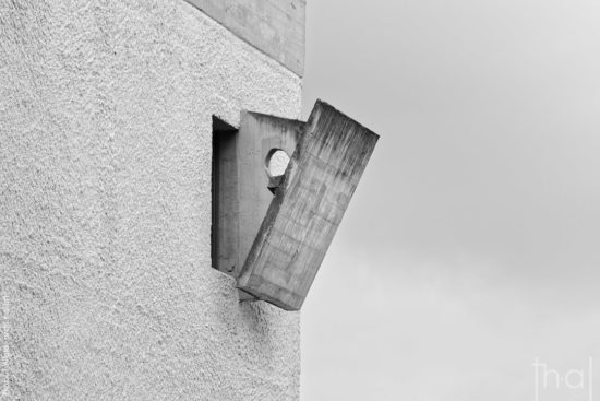 Concrete occultation of a window in the convent of La Tourette by the architect Le Corbusier