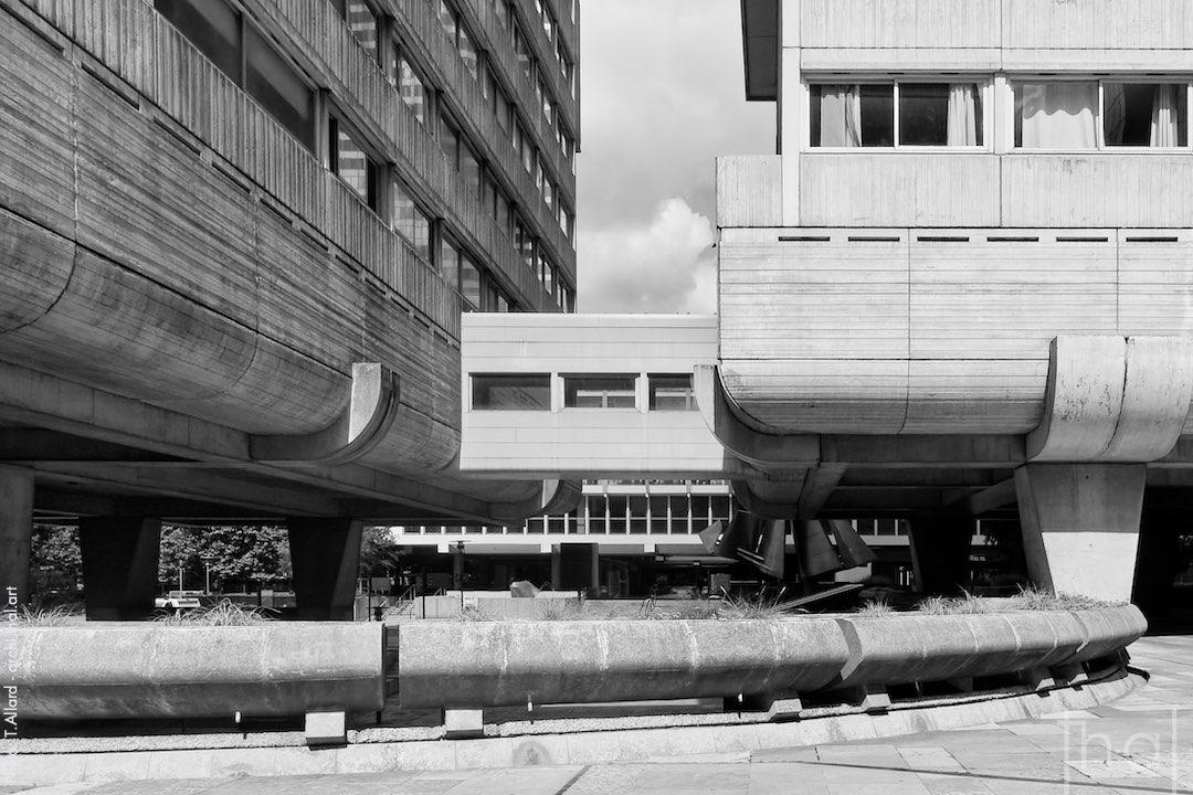 Brutalist architecture in Paris la Défense