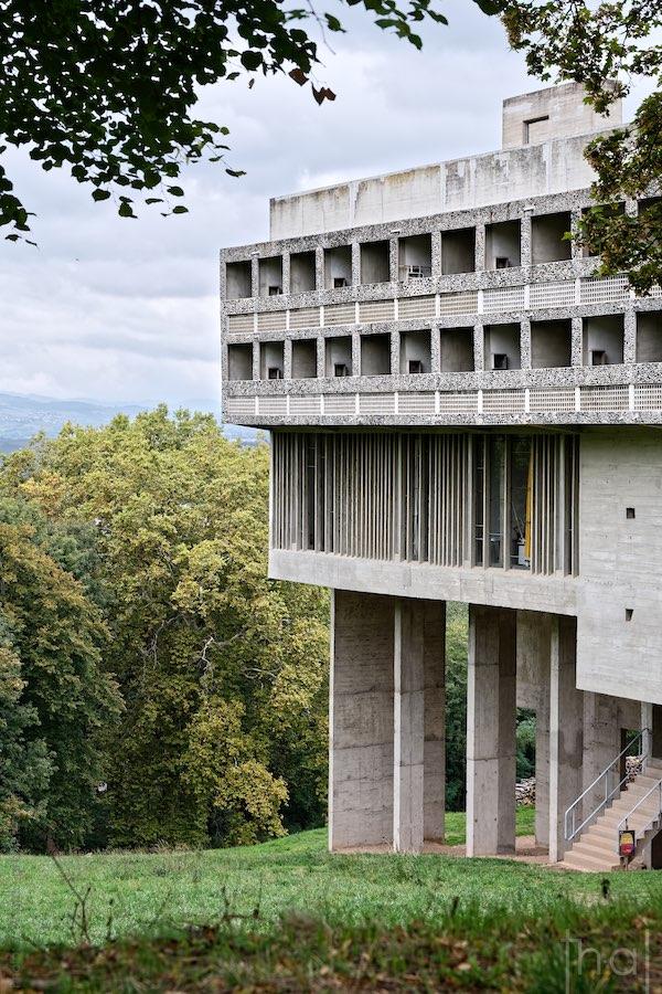 Couvent de la Tourette by the architect Le Corbusier in a green setting