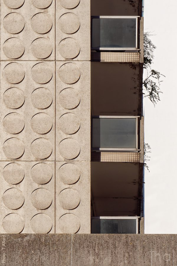 Balconies & façade of Damiers, brutalist buildings in La Défense