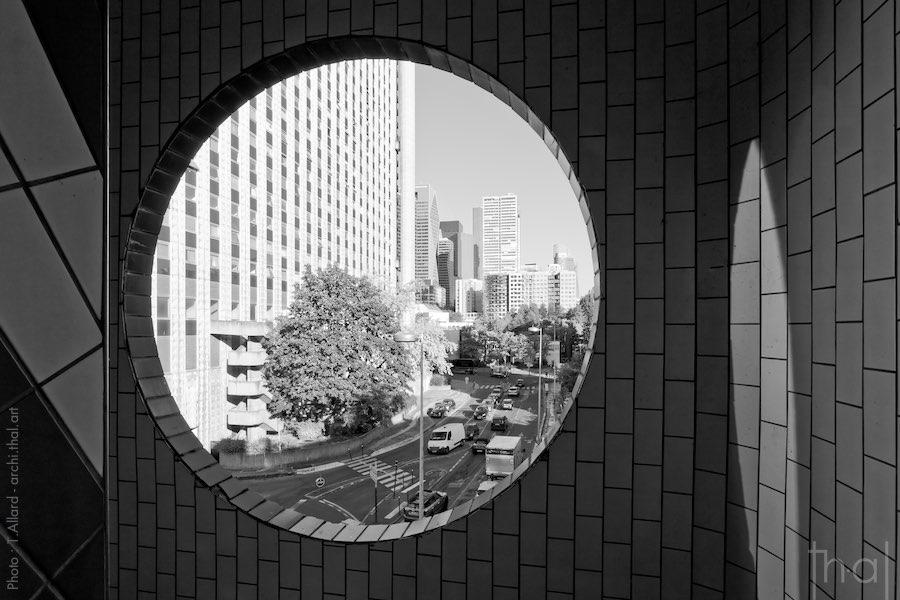 Rear view of the Damiers buildings in Paris La Défense