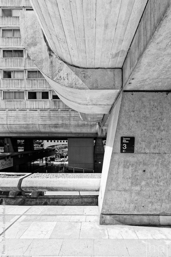 Concrete pillar of a brutalist building in La Défense